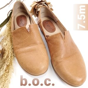 B.O.C. Tan Leather Slip On Loafer Flats 7.5m